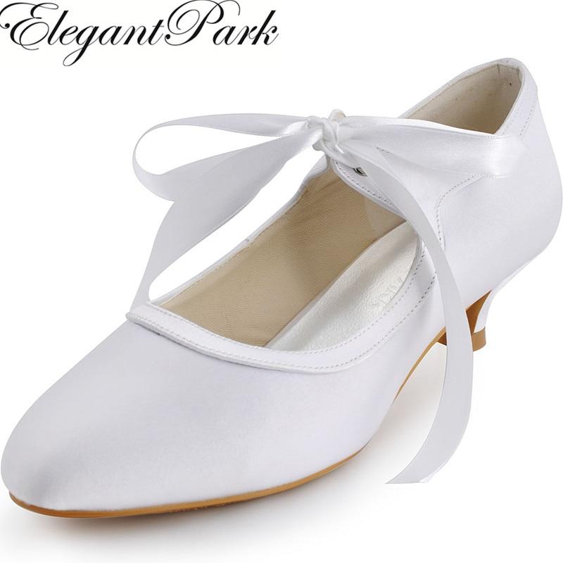 Mujeres Bombas blanco marfil cerrado comfortale bajo talón Mary Jane satén novia señora formal vestido de novia Zapatos ep41017