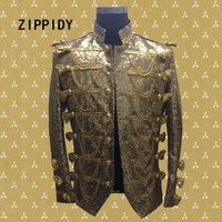 2017 New Fashion Jacket Men Gold Sequins Tassel Coat Bar Ds Dj Male Singer Dancer Performance Jazz Show Slim Outerwear Costumes