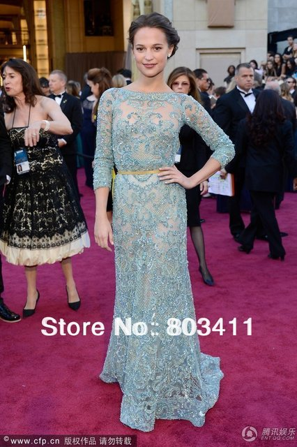 Freeshipping Custom-made Luxury Three Quarter Sleeves Open Back Turquoise Lace Evening Dress & 85th Oscar Awards Celebrity Dress