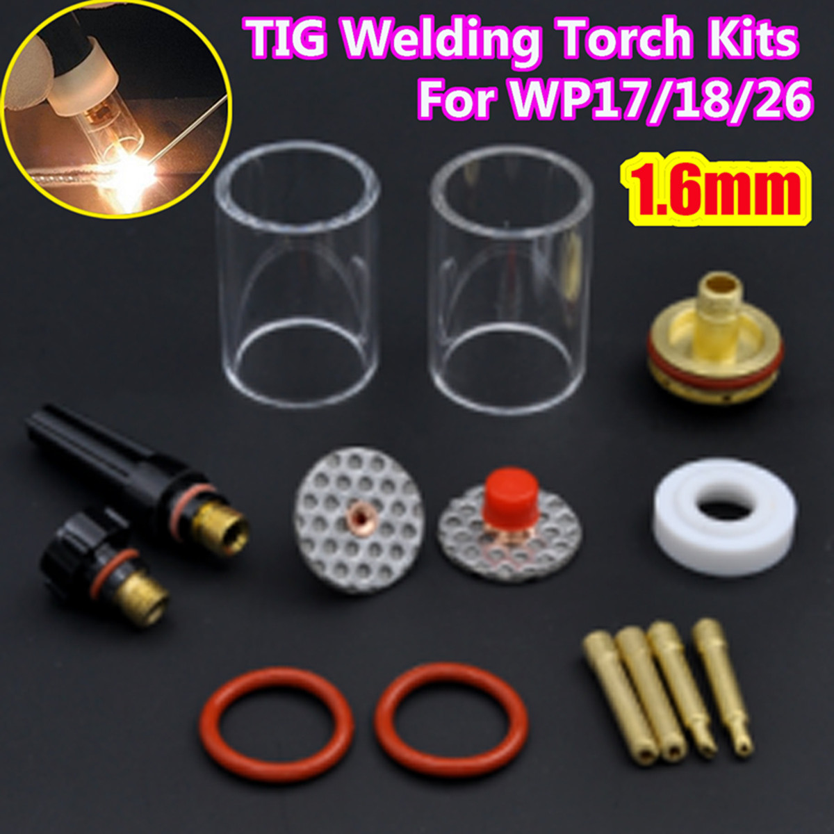 New 14PCS 1.6mm 1/16 TIG Welding Torch Stubby Gas Lens Glass Cup Kit For WP17/18/26 1set 14pcs tig welding torch stubby gas lens glass pyrex cup kit 3 2mm 1 8 for wp17 18 26 welding series