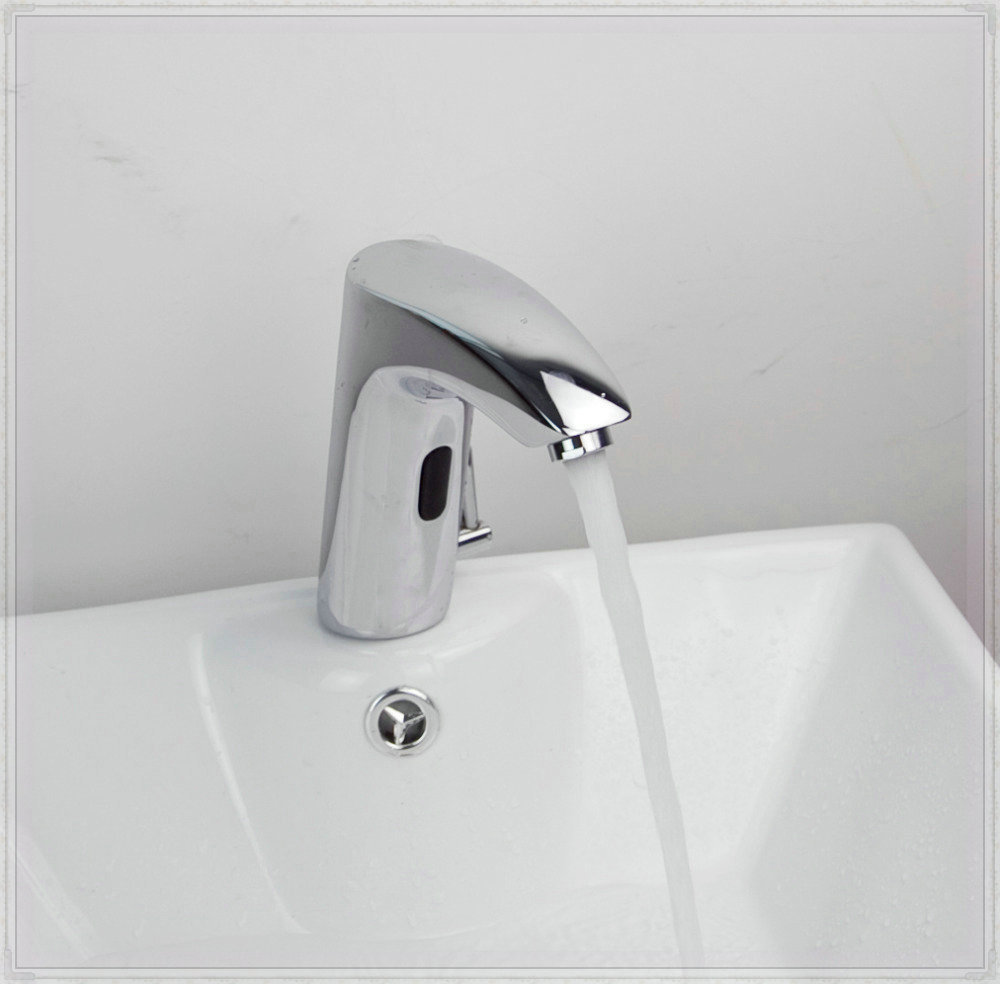 Bathroom Hand Washer Automatic Tap Sensor Faucets Cold & Hot Water ...
