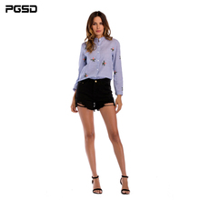 PGSD Spring Simple Fashion Women Clothes striped vertical collar embroidered Floral cotton linen Long sleeves shirt female vertical striped flower embroidered frill shirt