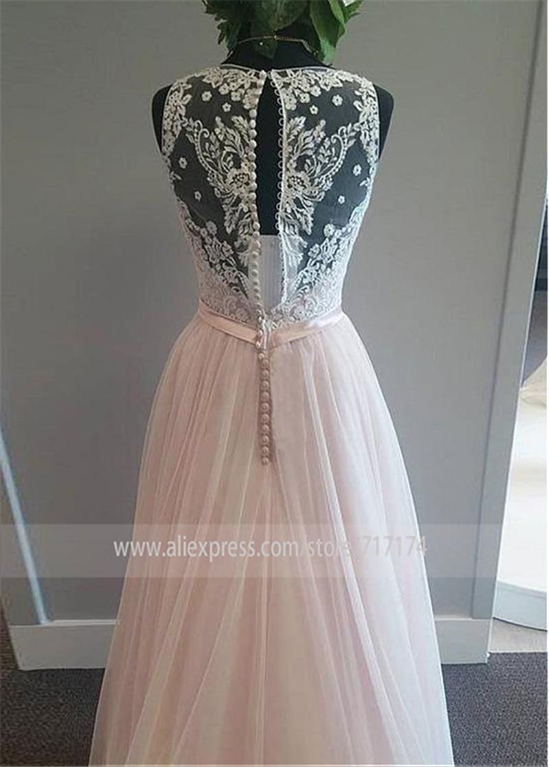 Image 2 - Modest Tulle V neck Neckline A Line Wedding Dress With Lace Appliques & Belt Pink Tulle Bridal Dress Reals-in Wedding Dresses from Weddings & Events