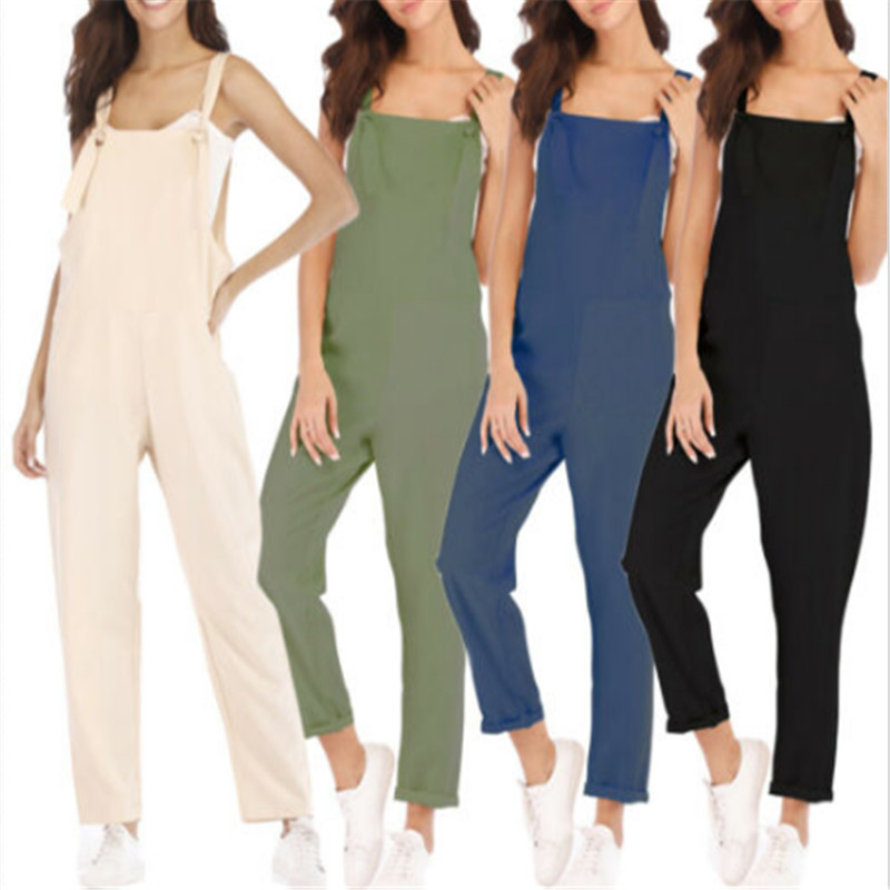 New Women Romper Summer Long Pants Elegant Strap Female Jumpsuits Solid Green Blue Black Jumpsuit Lady Casual Overalls For Women