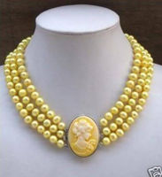 3Row Yellow Pearl Necklace Cameo Beauty Clasp WW BB
