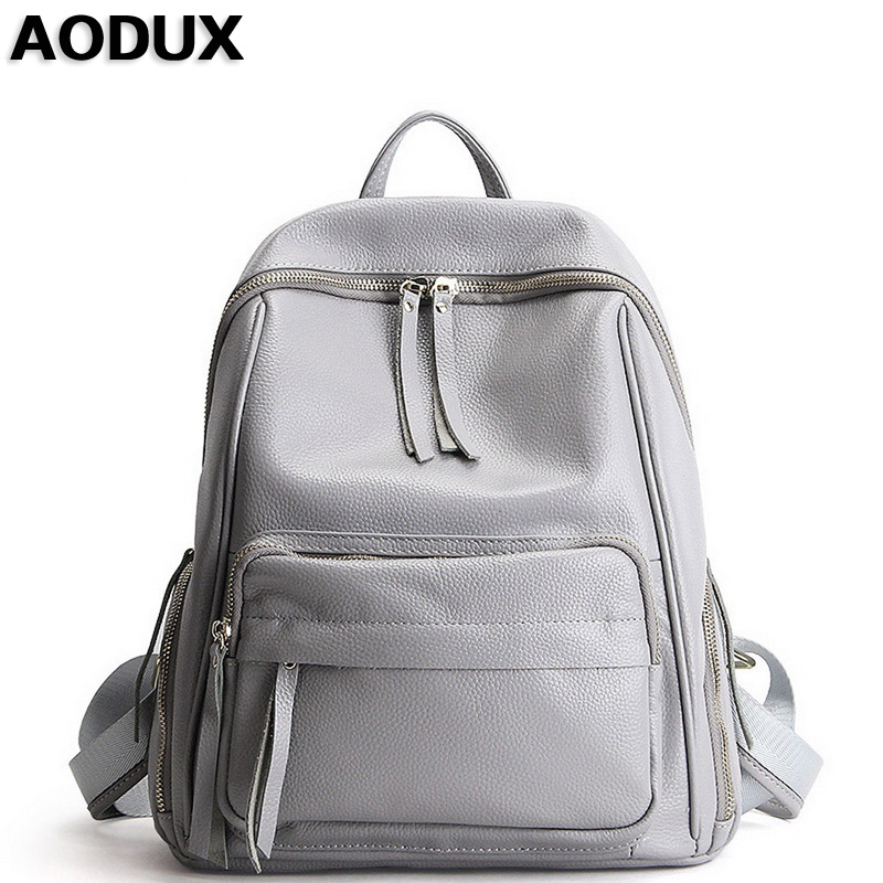 2018 Large Capacity 100% Genuine Leather Women's Backpack Soft Top Layer Cowhide Female Ladies' School Style Bags Purse Sack