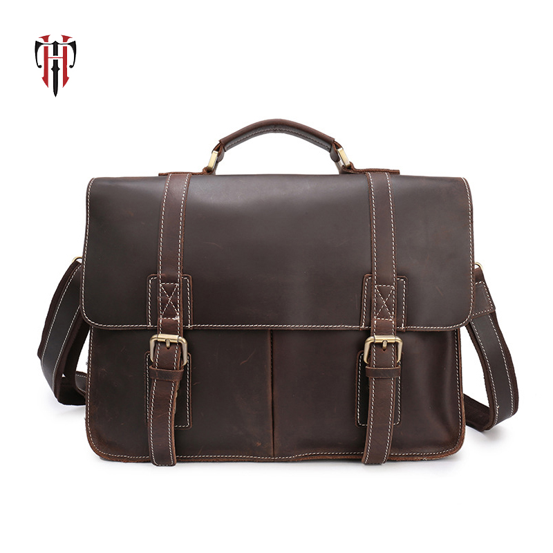 TIANHOO 14 inch laptop man bags genuine leather bag shoulder & handle men bags crazy horse leather briefcase for work retro crazy horse cow genuine leather bags 16 inch men s shoulder bag for men briefcase real leather handbags laptop bags