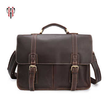 TIANHOO 14 inch laptop man bags genuine leather bag shoulder & handle men bags crazy horse leather briefcase for work - DISCOUNT ITEM  39% OFF All Category