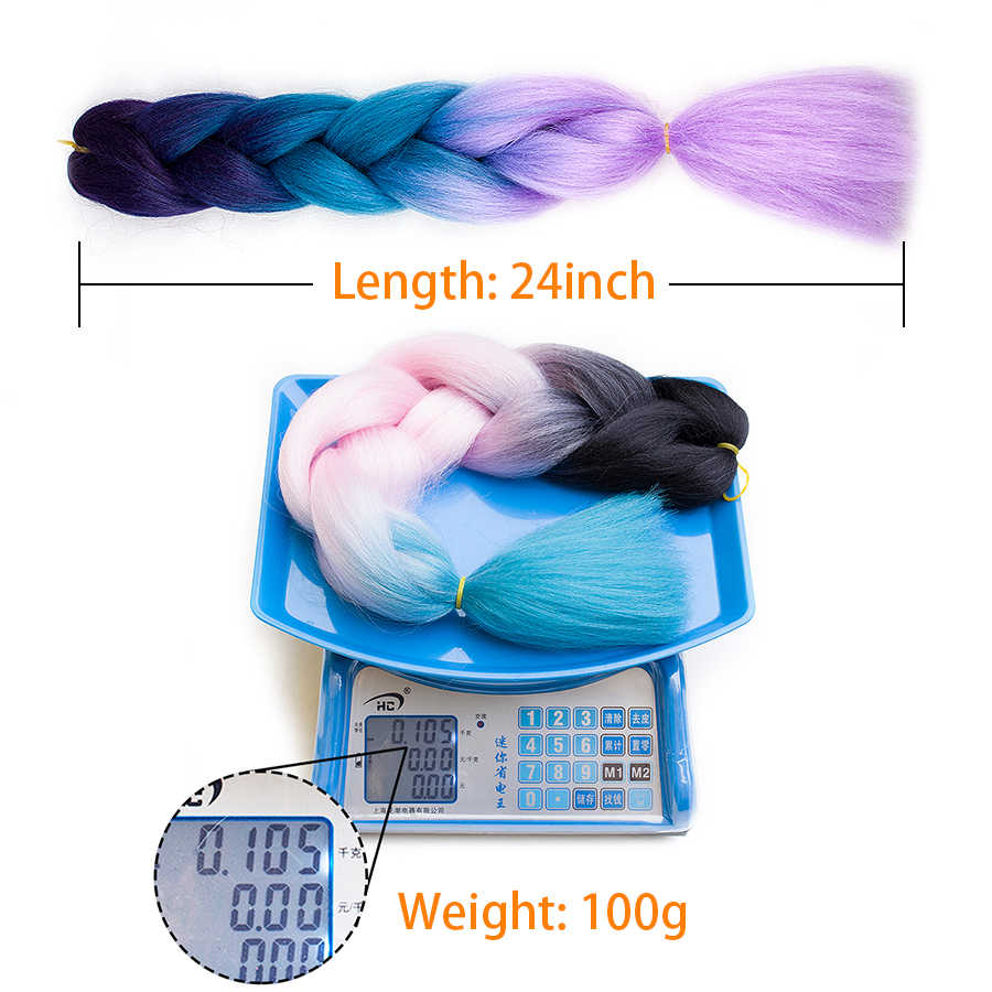 Plecare 24 ''ジャンボ組紐髪合成カネカロンオンブル編組ヘアエクステンション 1 ピース/ロットかぎ針毛式繊維ブレイド