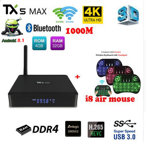 Tanix TX5 MAX PRO DDR4, 4 Гб оперативной памяти, 32 Гб встроенной памяти, 2,4G 5G Wi-Fi LAN Bluetooth Android 8,1 ТВ Box Amlogic S905X2 4 ядра 4 K tx5 max pro 1