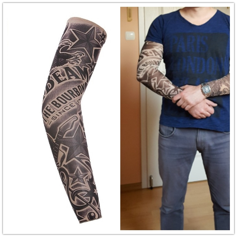 Cycling Sports Tattoo Arm Warmers Sleeves UV Cool Arm Sleeves Cycling Running Nylon Sport Elastic Oversleeve Tattoo Sleeve(China)