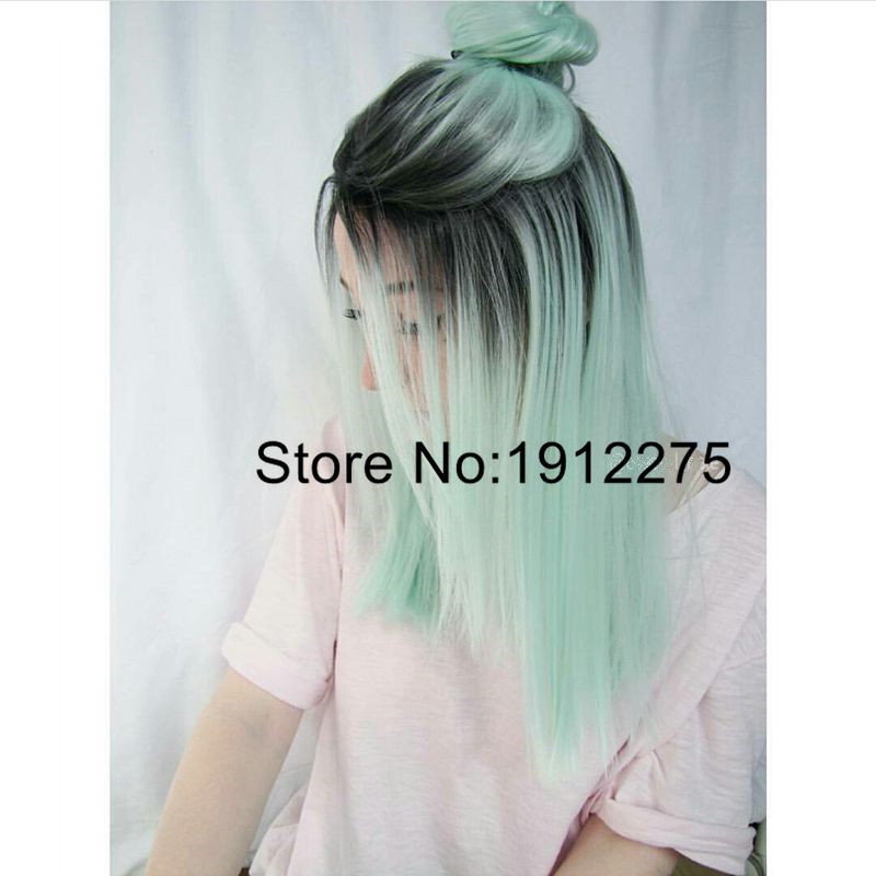 ФОТО Fashion Party Short Straight Bob Hair Wigs Mermaid Mint Green Ombre Color Synthetic Lace Front Wig For Women Heat Resistant Wigs
