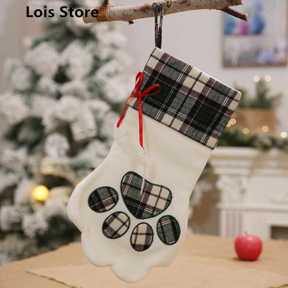 Новое поступление 2018 большой плед Paw Рождество чулок для собаки кошки рождественские подарочные сумки елка украшения Новый год украшения