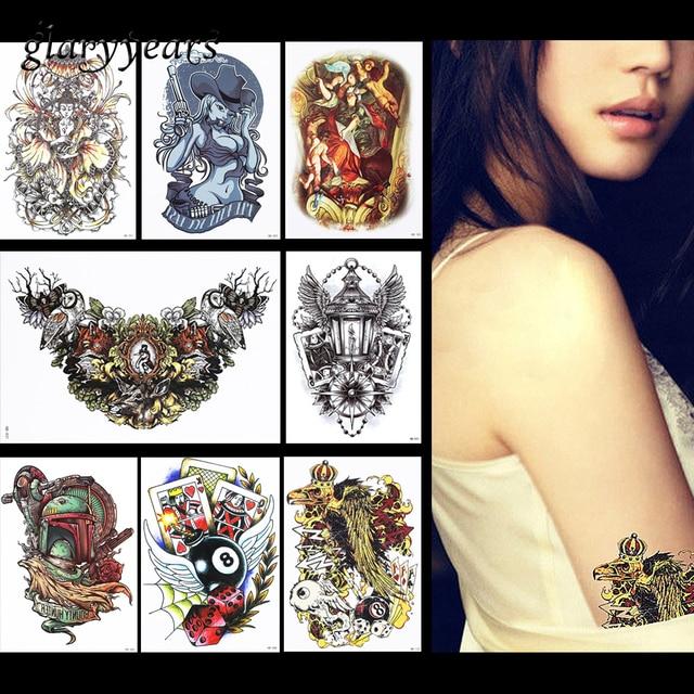 Pieces Amusement Pattern Design Tattoo Sticker Belle Decal Temporary Women Arm Body Art Tattoo