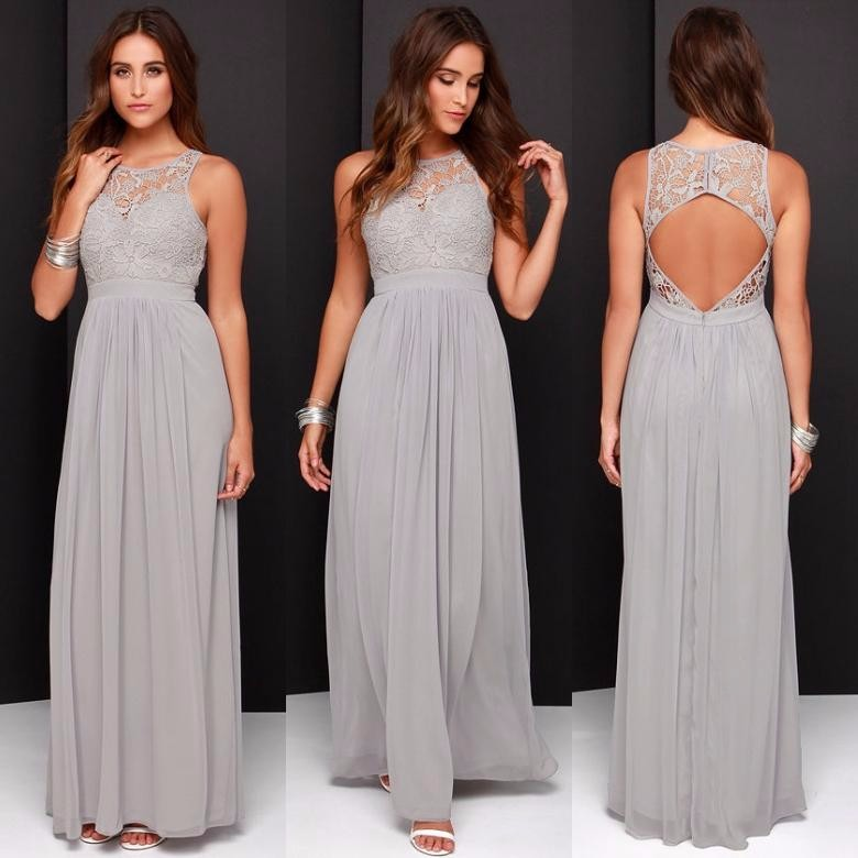 Gray Bridesmaid Dress A Line Sleeve O Neck Open Back Floor Length bridesmaids dresses Cheap 2016 vestidos largos 2