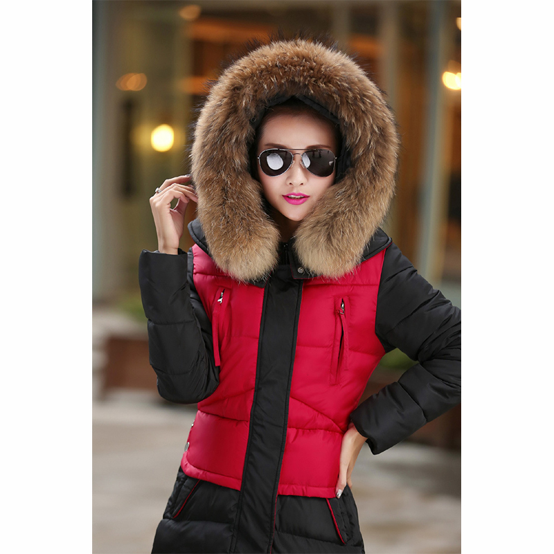 Long Design Thick Fur Hooded Thick Coat Winter Women Down Jackets 2017 New Warm Cotton Wadded Ladies Parka fashionable thick hooded pleated down coat for women