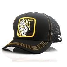 New Dragon Ball Z Mesh Hat Goku Baseball Cap High Quality Black & Yellow Curved Brim Snapback Gorras Casquette hats