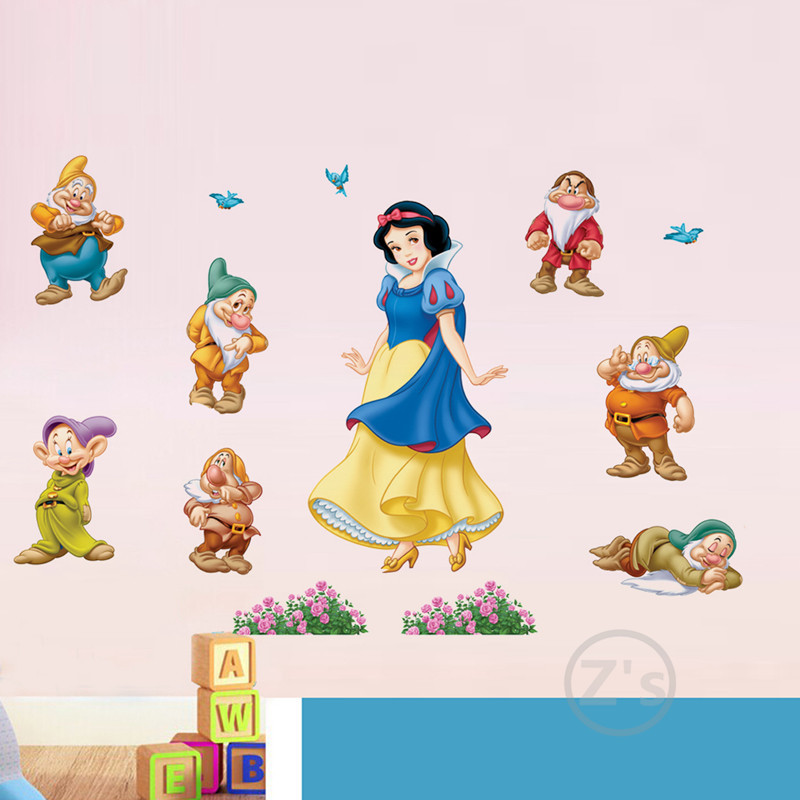 ZS Pelekat Snow White Princess Wall Sticker Princess Home Decor Cartoon Wall Decal untuk Girls Bedroom Decal Baby Vinyl Mural