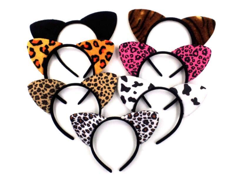 10 pieces Short Plush Tiger Leopard Cat Ear Headband Cute Girls Kids Party Festival Fantastic Hair Accessories HairBand