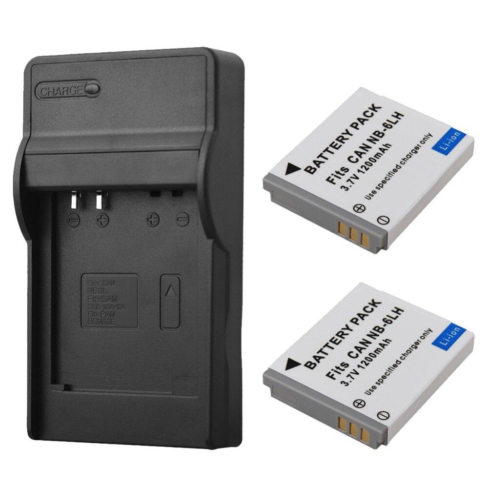 2 pcs Substituição Da Bateria + Carregador Para Canon IXUS NB-6L NB-6LH 310 SX240 SX275 SX280 HS SX510 SX500 95 200 105 210 300 S90 S95