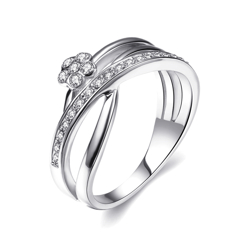 New aaa Zircon Cross Ring Ladies White Gold Color Wedding Rings Crystal Fashion Jewelry For Women Wedding Party 3 Colors R710