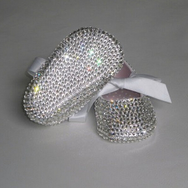 Custom Sparkle Bling out swal crystals Babyshoes Rhinestones wedding infant 0-1Y ribbon Princess STUNNING Ballerina shoes