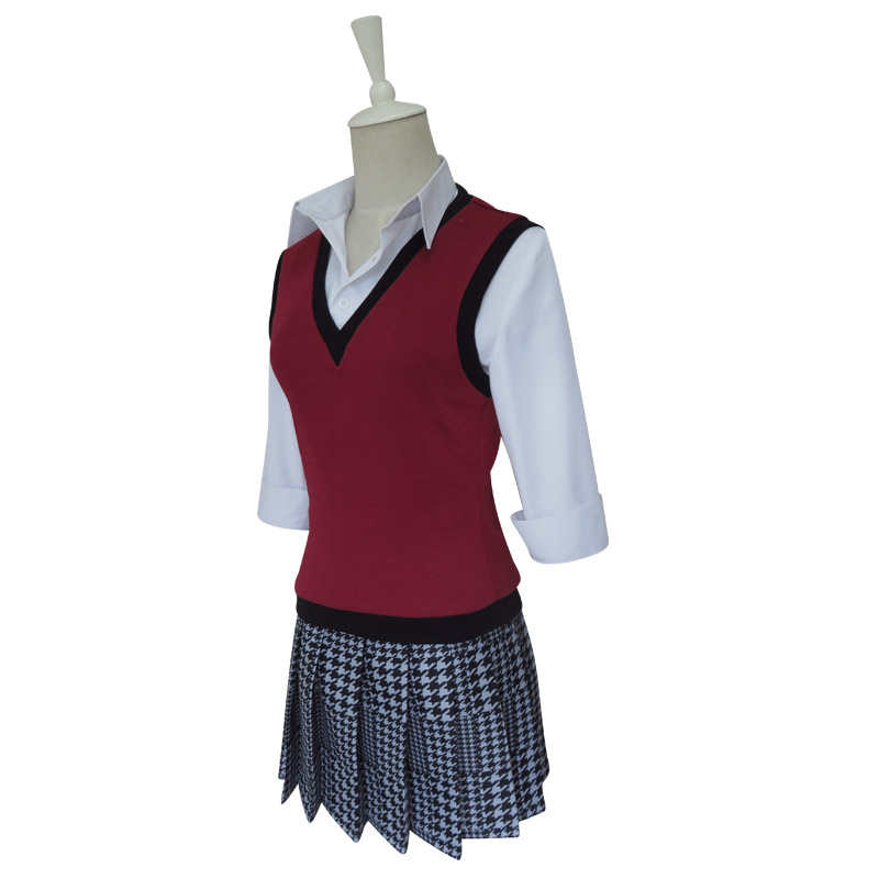 Coshome Kakegurui Runa Yomozuki Cosplay Wigs Costumes School Girls Uniforms Vest Dress With Eye Mask And Socks For Halloween Party (2)