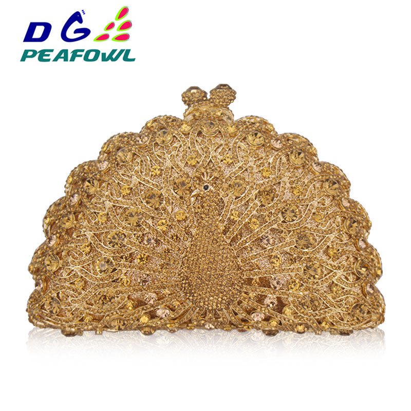 Gold Luxury Peacock Crystal Evening Bags Animal Clutch Designer Women Clutches Bridal Wedding Handbags Purses Party Bag