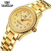 1845a04d89b TEINTOP 2018 Moda Automatic Self-Vento Relógio Mecânico Relógio de Aço  Cheio de Ouro Diamante das Mulheres As Mulheres se vestem.