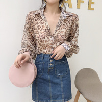 Lace Up Chiffon Blouse 2018 Summer New Woman Clothing Leopard Print Sexy Transparent Shirts Ladies Shirts Loose Puff Sleeve Tops