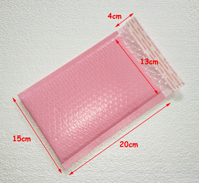 Free shipping 50pcs Usable space 13x20+4cm Light pink Poly bubble Mailer envelopes padded Mailing Bag Self Sealing 3