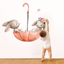 Cartoon sticker Animal rabbit painting wall stickers nordic style for kids rooms baby diy home decoration accessories wallpaper