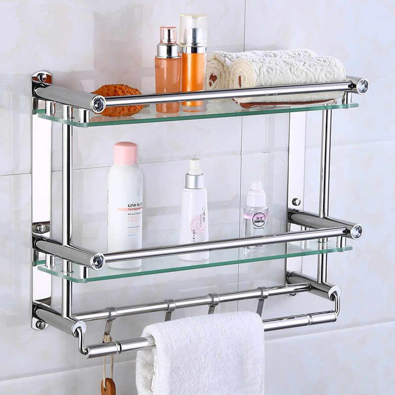 Wall Mounted Shower Shelf Bathroom Towel Holder Saving Space Rack Accessories