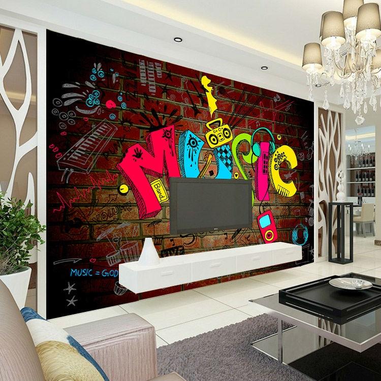 Fesselnd Musik Graffiti Fototapete 3D Tapete Schlafzimmer Kinderzimmer Dekor Club  Bar Hochzeit Dekoration Mode Design Wandbild Pop Kunst In Musik Graffiti  Fototapete ...