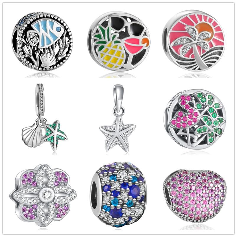 yanxizao 925 stříbrná evropský plameňák kouzlo korálky styl náramek přívěsek náhrdelník kutilství šperky originály