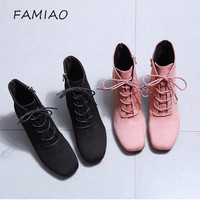 FAMIAO Winter Snow Boots Warm British Style New Pink Women Boots Lace Up Solid Casual Ankle