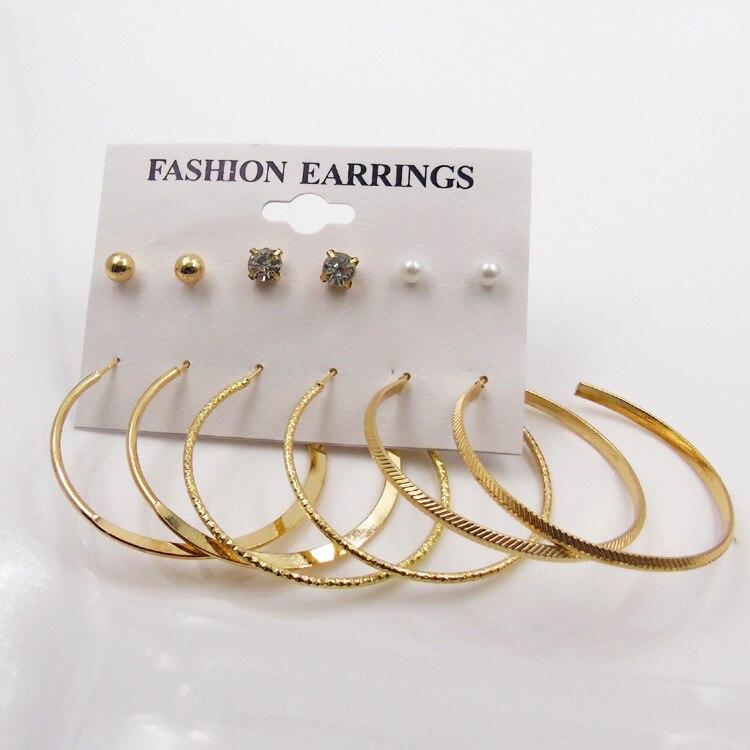 3PC GOLD earring  jewelry party jewelry  women BIG SIZE Earring women jewelry long earring GIFT wire ear loop gold earrings for women