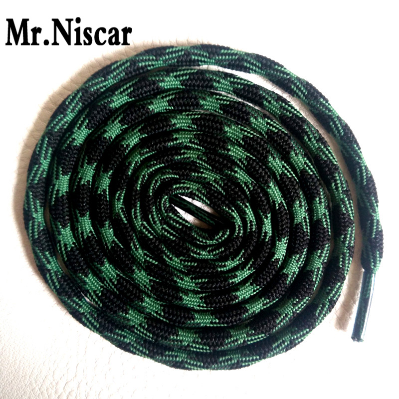 Mr.Niscar 2 Pair Black Green Athletic Sports Round Shoelaces Polyester Strong Climbing Sneaker Shoe Laces Weave Wavy Line