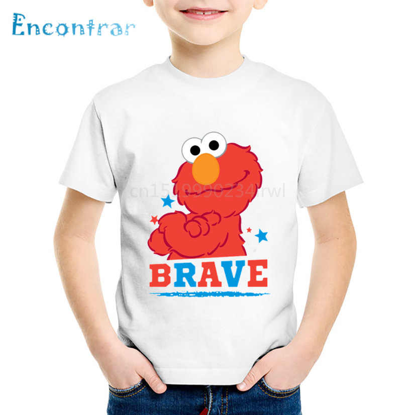 5d7b843bb ... Children Cartoon Sesame Street Elmo Funny T shirt Summer Kids Short  Sleeve T-shirt Boys ...