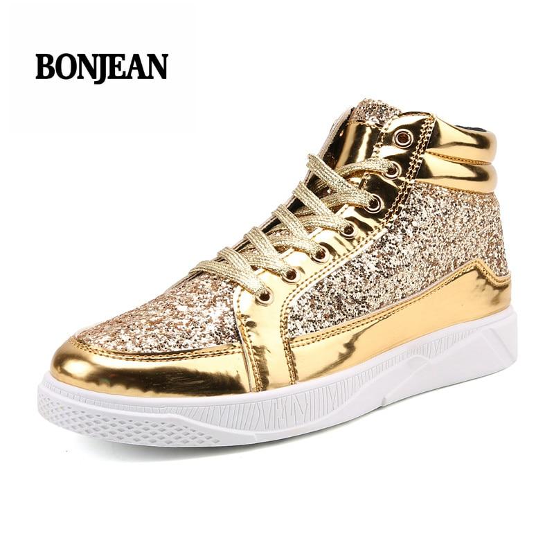 2018 Men Skateboarding Sneakers Shoes Outdoor Athletic Sport Shoes Men Bullock Plein Shiny Gold/silver Gym Shoes Plus Size 45