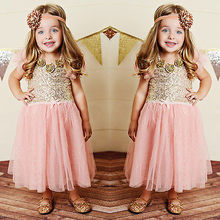 Sequins Princess Baby Girls Dress Party Tutu Gown Formal Dresses Sundress 2-7Y