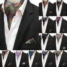 Mans Vintage 100% Silk Ascot Tie Pocket Square Set Luxury Paisley Flower Cravat Neck Handkerchief Gifts for Men