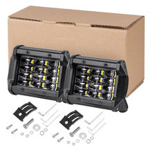 1 Pair 4 Inch 72W 8460 Lumen Motorcycle 6 LED Spot Beam Fog Light Bar for Off-road Truck Jeep SUV Boat Auxiliary Driving Lamp