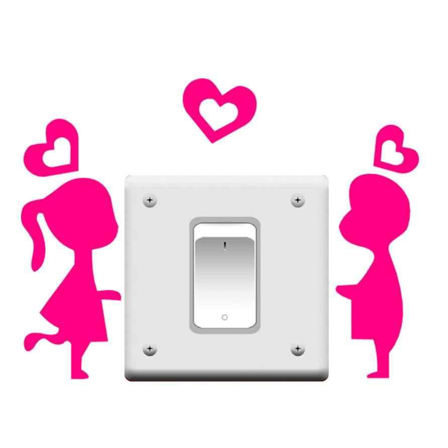 KAKUDER, 1 шт., Настенная Наклейка для переключателя на окно комнаты, виниловая декорация с изображением любви, Romatic Boy & Girl, распродажа ap425