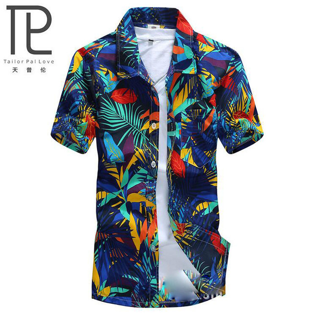 Marca - roupas de verão 2016 dos homens à beira-mar shirt, Homens curto Floral solto camisas homens roupas casuais Plus Size L - 4XL # A7