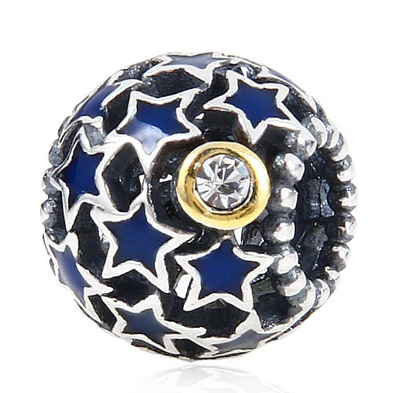0c99f2d9ed06 Noche cielo bue estrella Amuletos original 100% auténtico 925 plata  esterlina Cuentas Pandora Amuletos pulseras y Collares