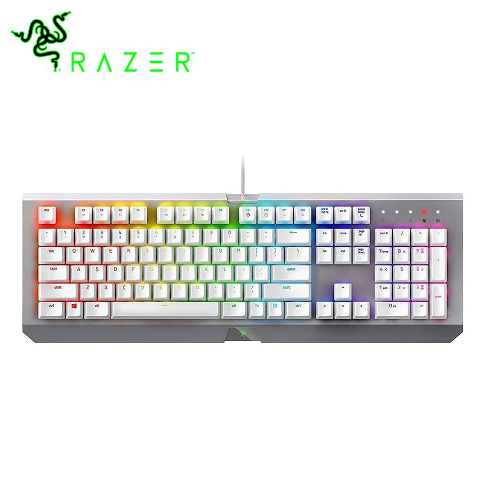 все цены на Razer BlackWidow X Chroma Gaming Keyboard Mercury Edition RGB US Layout 104 Keys Razer Green Switches Wired Mechanical Keyboard онлайн