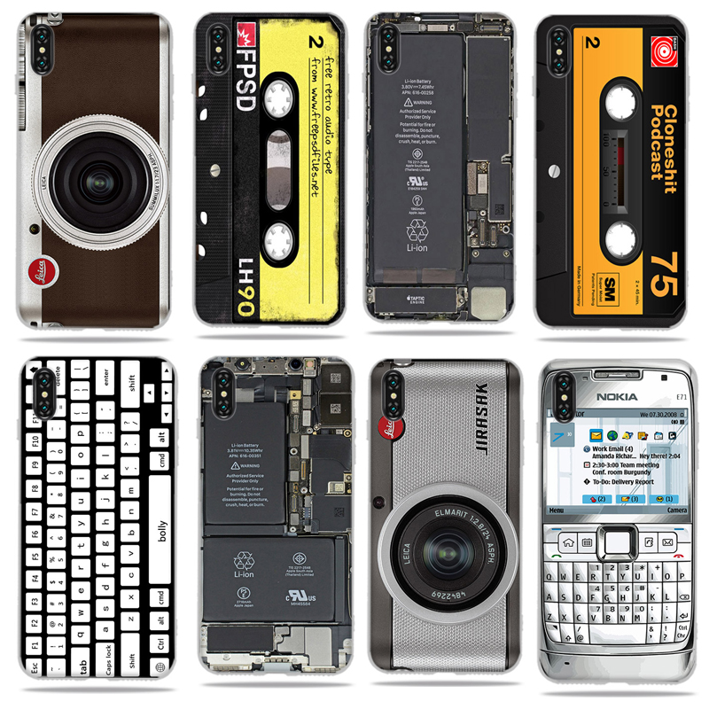 US $0 61 32% OFF|Case Retro Camera Cassette For Apple iPhone 5 5S Se 6 6S 7  8 Plus X XS XR Max Cases Tapes Keyboard TPU Back Cover Coque Capa-in