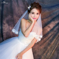 RSV66 Real Pictures Yiaibridal Bridal Bridal Veil Two Layer Ivory Short Veils