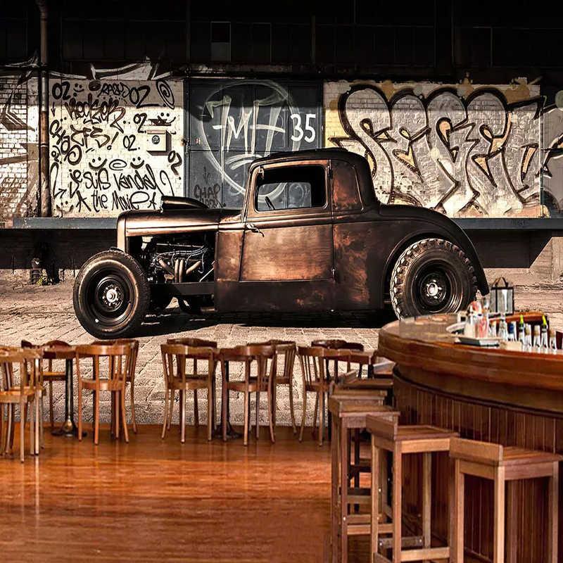 العرف صور خلفيات ثلاثية الأبعاد الرجعية الكتابة على الجدران الحنين القديمة سيارة جدارية مطعم مقهى غرفة المعيشة ديكور حائط الخلفية ثلاثية الأبعاد ورق حائط